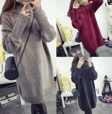 冬の女性の厚手のセーター ドレス セーター ター...