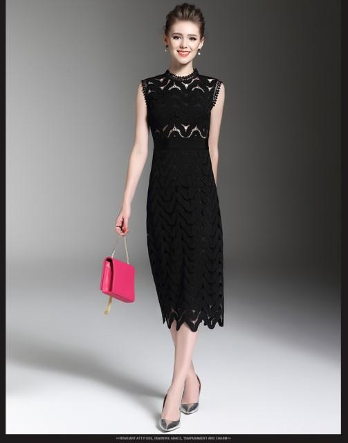 レースワンピース 透かし彫り 大人しいドレス 欧...