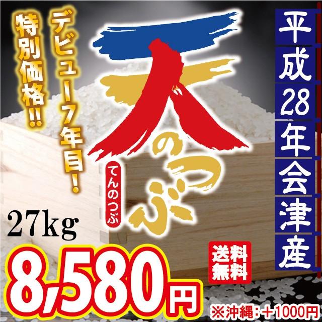 平成28年 会津産 天のつぶ 白米 27kg ※沖縄は別...