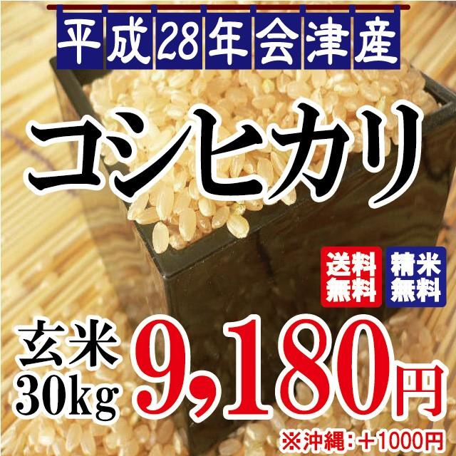 平成28年 会津産 コシヒカリ 玄米 30kg ※沖縄は...