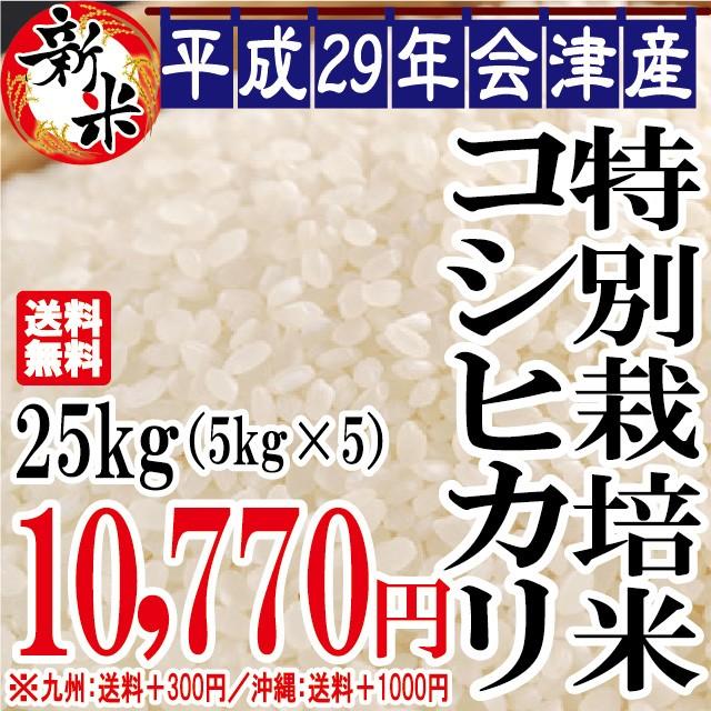 新米 特別栽培米 コシヒカリ 25kg(5kg×5)会津...