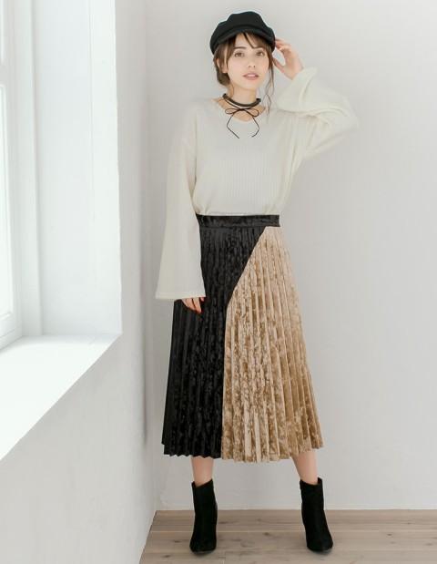 カラーデザインスカートでお洒落なトレンドガール...