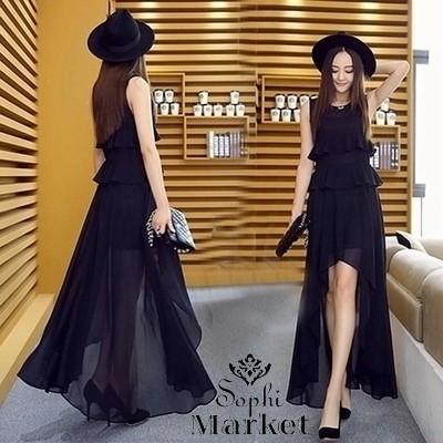 ◆送料無料◆シフォンロングドレス裾アシン
