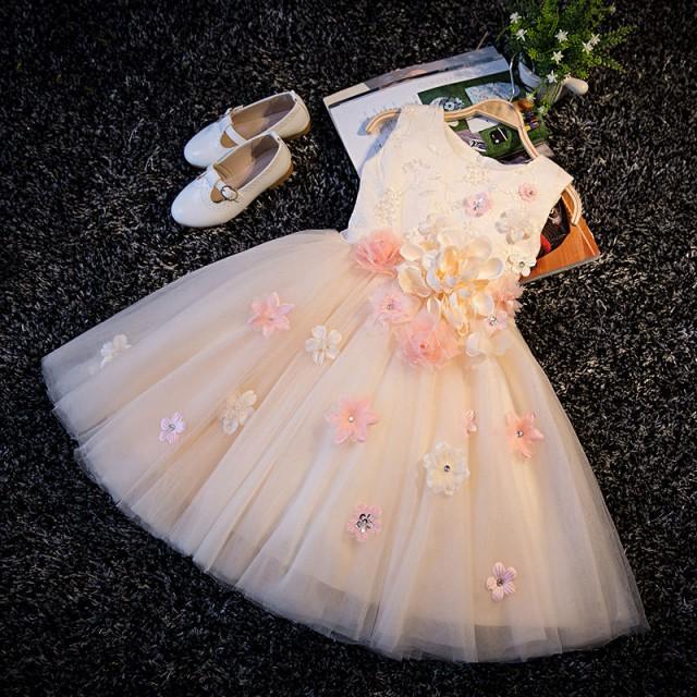 90-150CM/シャンパン 子供ドレス キッズドレス ...