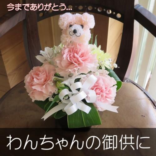 わんちゃんの御供用 生花アレンジメント(ピンク...