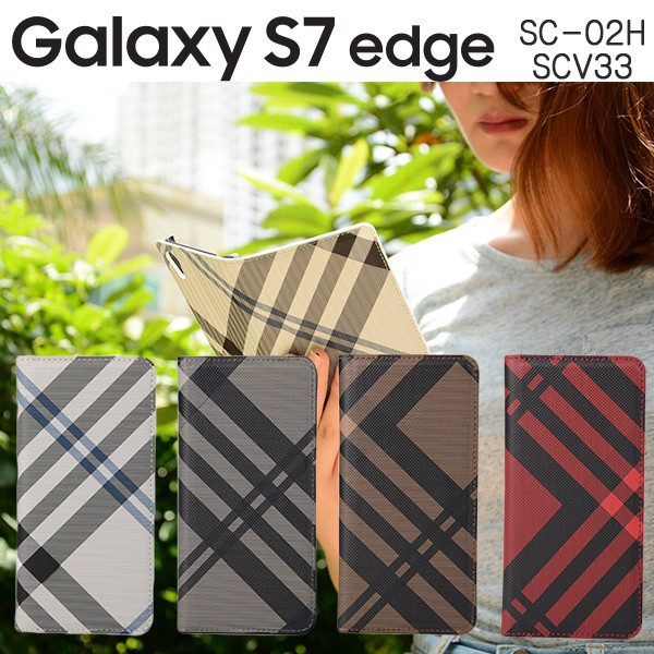 Galaxy S7 edge SC-02H SCV33 ケース チェック柄 ...