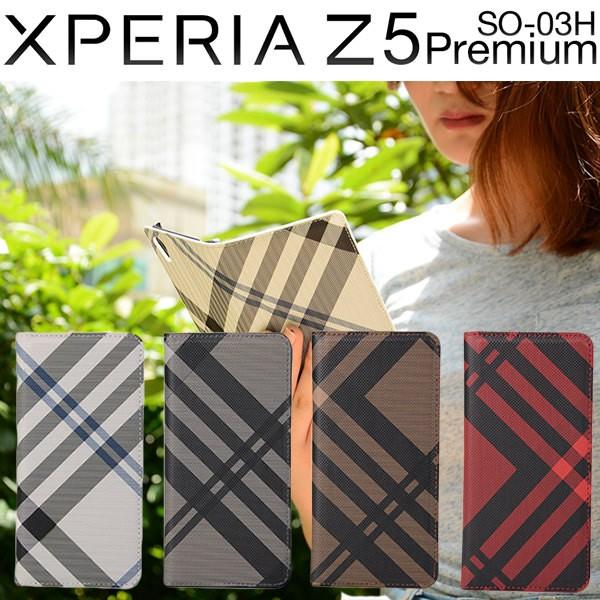 Xperia Z5 Premium SO-03H ケース チェック柄 ダ...