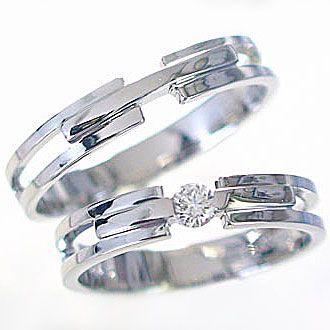ダイヤモンド ホワイトゴールド 結婚指輪 ペアリ...