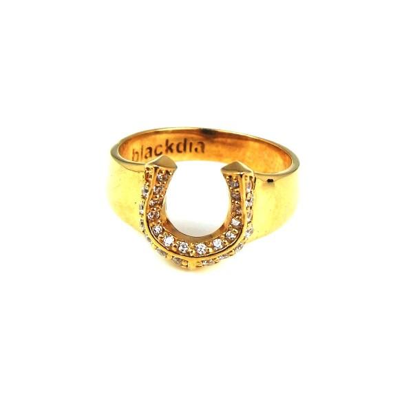 blackdia ゴールド ジルコニア 馬蹄 リング 指輪 ...
