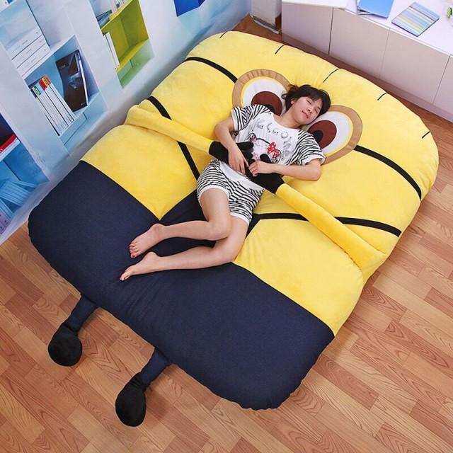 人気 畳ベッド 可愛い ミニオン   高品質 折りたたみベッド 柔かい ヘッドレス ソファー (ダブル)