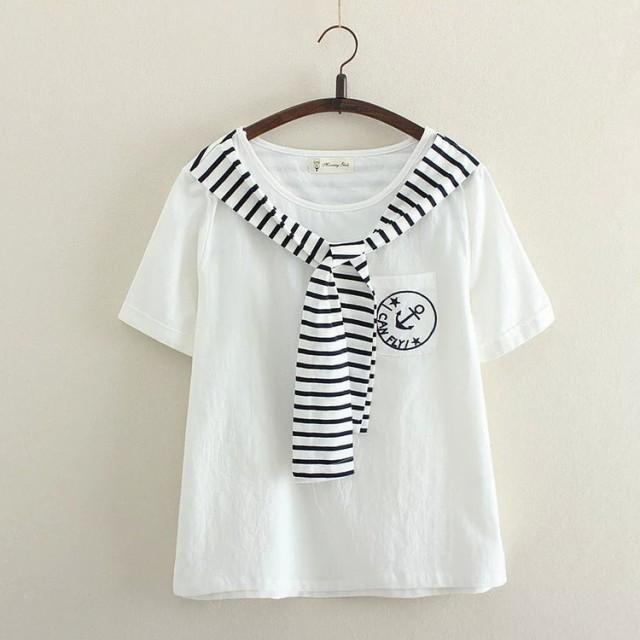 ☆大人気海軍風Tシャツ セーラー風 トップス ...