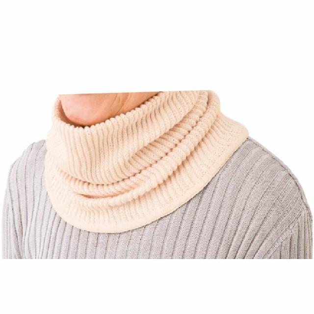 シルクと綿の二重編みネックウオーマー 男女兼用...