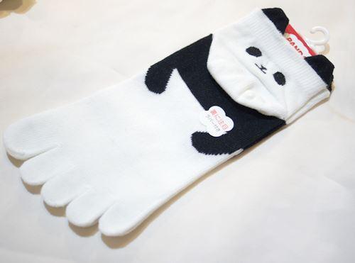 かかと パンダ 5本指ソックス 【T05033-WH】
