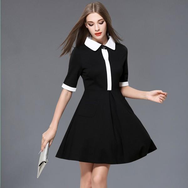 d343d38a13c64 韓国ワンピース 黒 白 ブラック ホワイト モノトーン 大人女子 パーティードレス 半袖