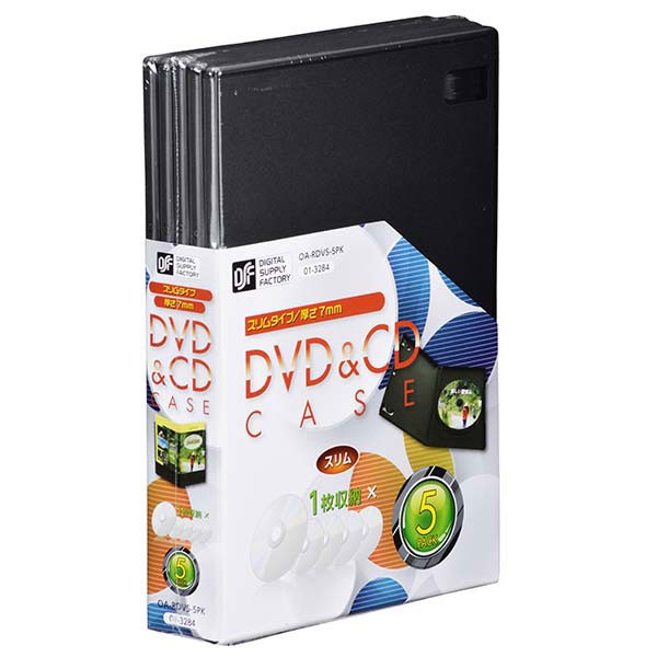 DVD/CDケース 1枚収納×5パック/厚さ7mm OA-RDVS-...