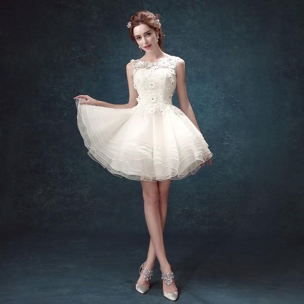f955b97951204 ミニドレス 白 ウエディングミニドレス 結婚式 発表会 披露宴 パーティ ...