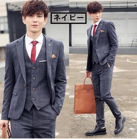 韓国スタイル/スリムスーツ/チェック柄3点セット...