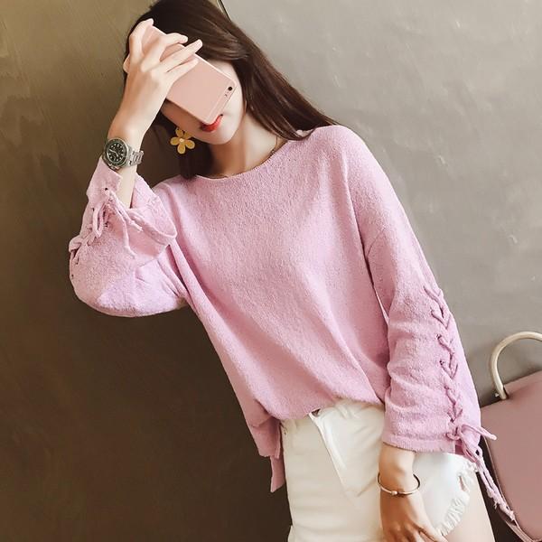 ストラップピンク 長袖 プルオーバー セーター...