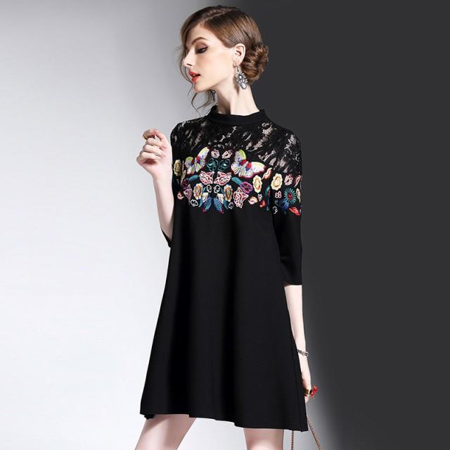 大人気新作レースアップドレス刺繍 ファッション...