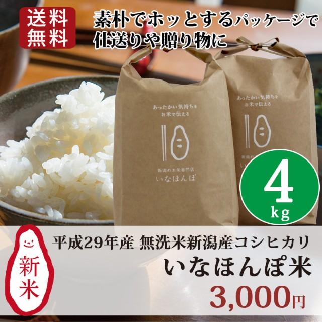 新米 米 お米 4kg(2kg×2) 無洗米 新潟 新潟産コ...