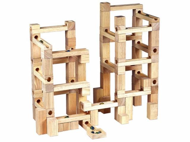 【送料無料】 木製玩具 ビー玉積み木転がし 100