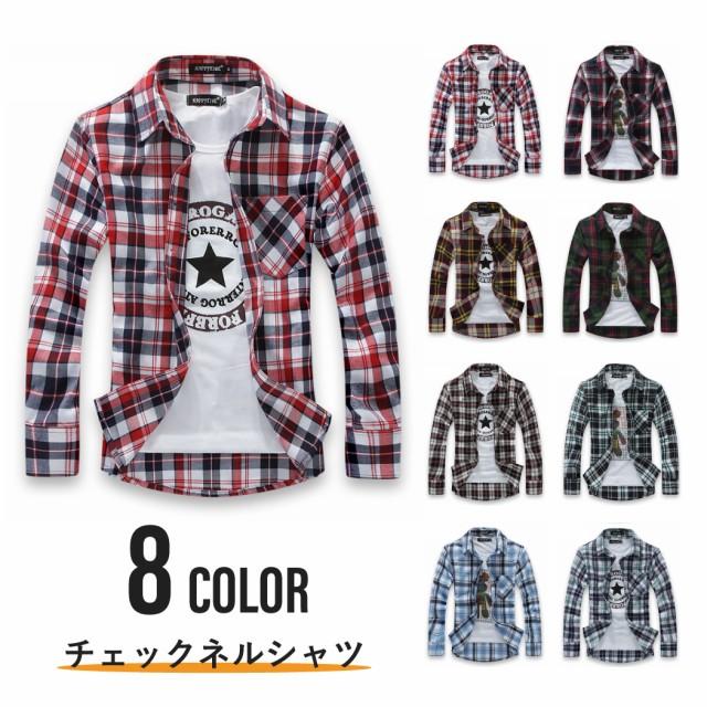 ネルシャツ チェックシャツ カジュアルシャツ メ...