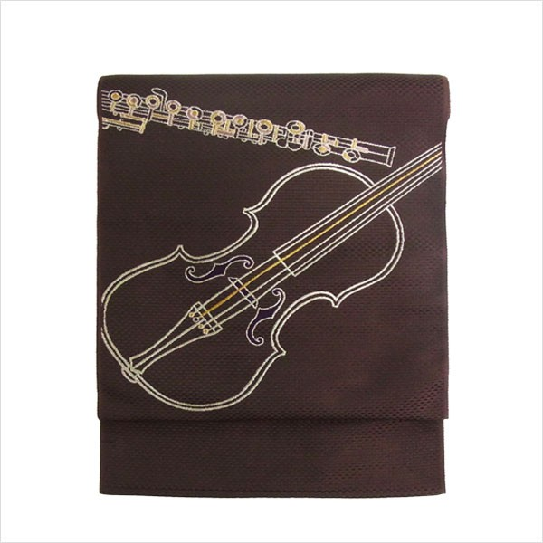 名古屋帯 正絹 茶 音楽 楽器 〜バイオリン...