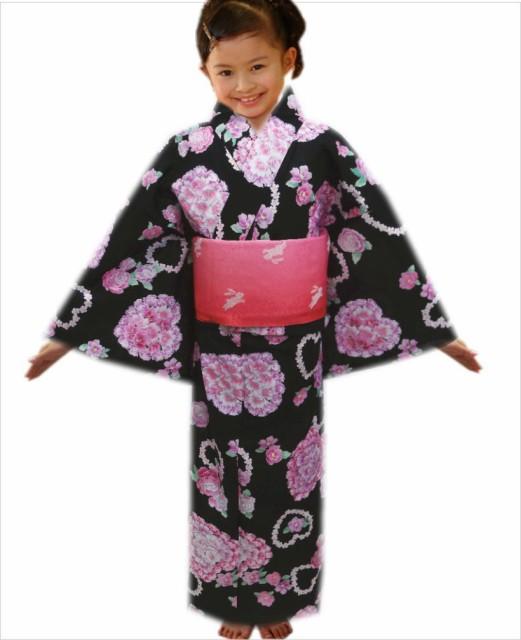 子供キッズ女の子用ラメ浴衣&ラメ結び帯(作り帯...