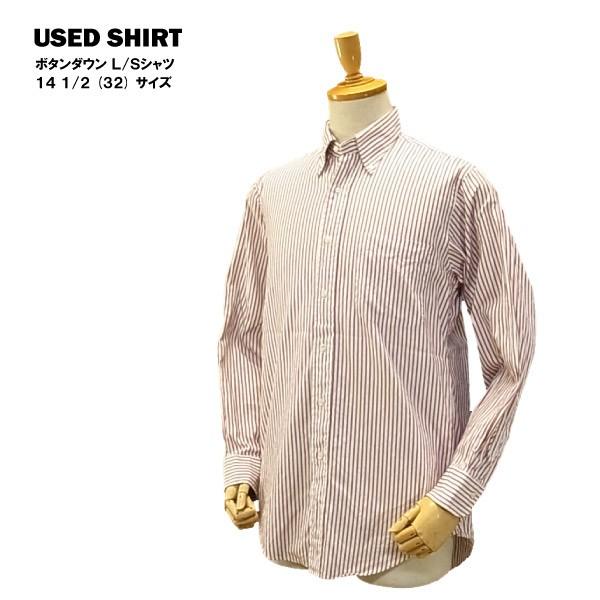 USED ボタンダウン L/Sシャツ レッドストライプ /...