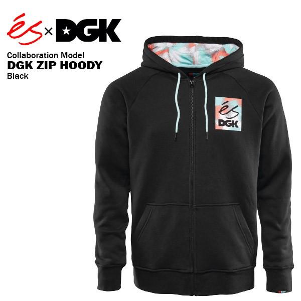 エス×DGK ジップ フーディー ブラック スケート ...