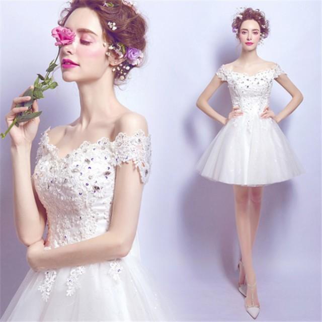 ドレス ウェディングドレス 白/ホワイト パーテイ...