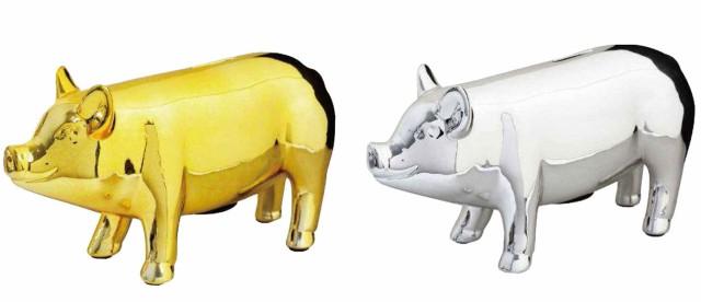 金と銀のブタの貯金箱(Lサイズ)