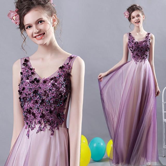 豪華なウエディングドレス 花柄 二次会 結婚式...