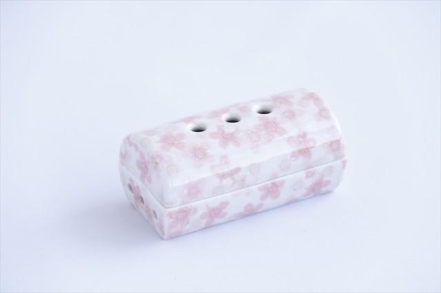 国産 線香皿 蓋付き 小型■陶器■仏具■桜桜桜 幅...