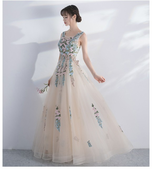 エレガントドレス/贅沢なロングドレス/花柄びら/...