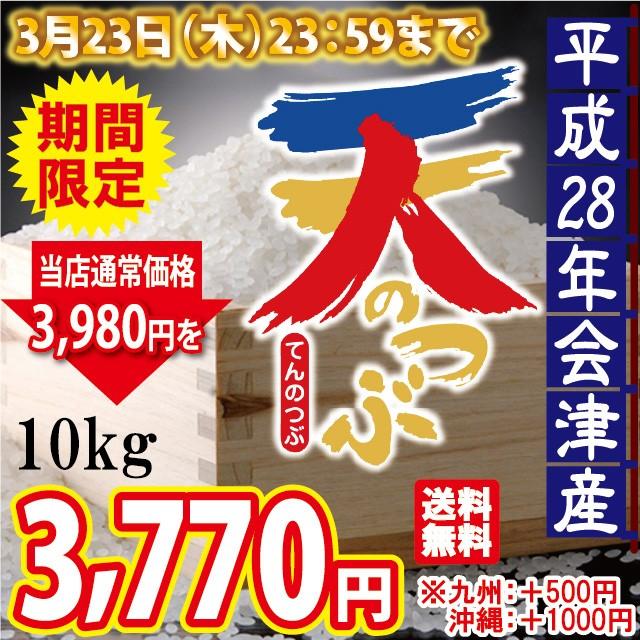 平成28年 会津産 天のつぶ 10kg(5kg×2) ※九州...