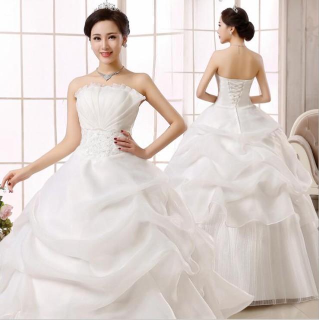 新作 ウェディングドレス 白 Aラインドレス 二次...