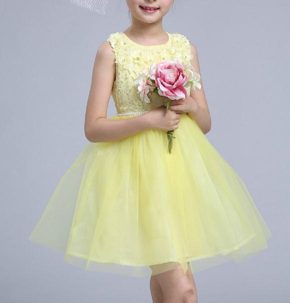 イエロー 110-150CM 子供ドレス キッズドレス ...