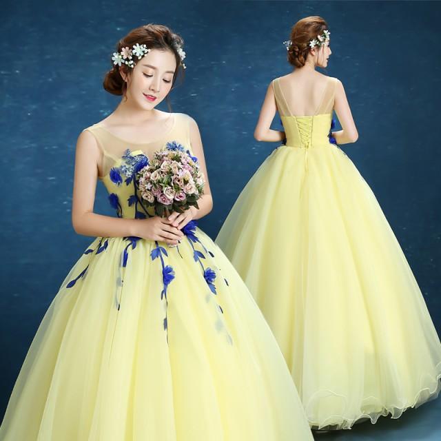 d3097b13e2196 カラードレス ウェディングドレスパーティードレス 花嫁ドレス イブニングドレス ロングドレス 結婚式ワンピース 披露宴