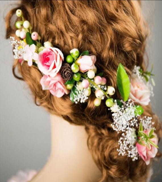 ウェディングアクセサリー 超可愛い髪飾り 森柄...