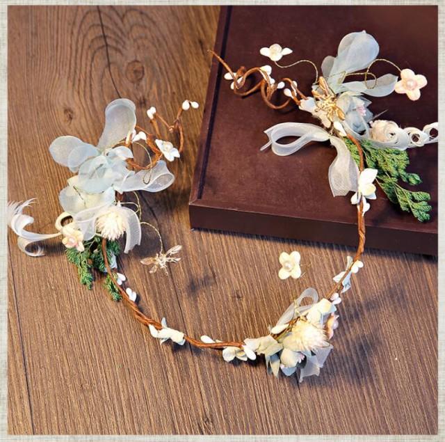 ティアラ1点セット 森柄咲花 花冠 ウェディング...