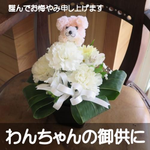 わんちゃんの御供用 生花アレンジメント(ホワイ...