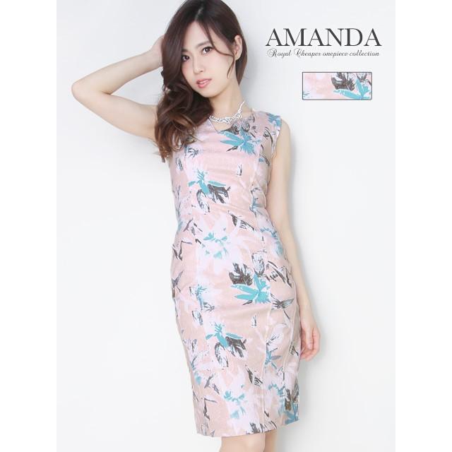 AM ペールカラー花柄ジャガードタイトドレス キャ...