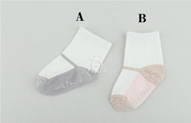 ベビーソックス選べる2色   カラー無地ベビー靴下...