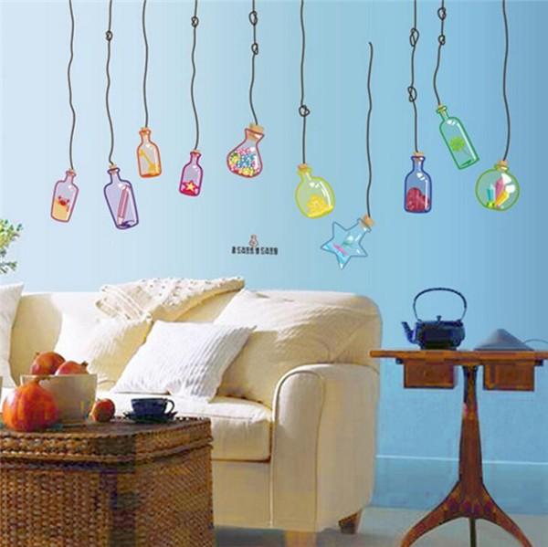 ウォールステッカーガラスの瓶壁紙部屋飾りシールdiy北欧