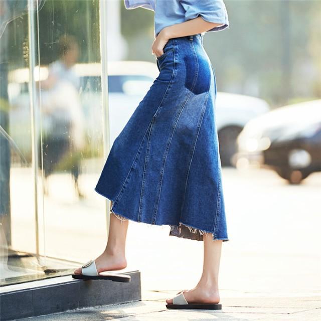 【送料無料】 デニムスカート 大きいサイズ ロン...