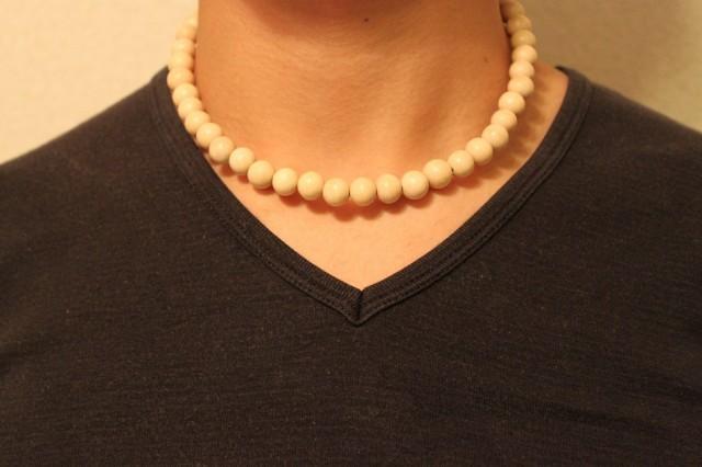 ホワイトウッド 10ミリ 数珠 ネックレス 送料無...