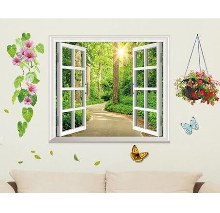 ウォールステッカー 窓 森林の風景 綺麗な 花と蝶...