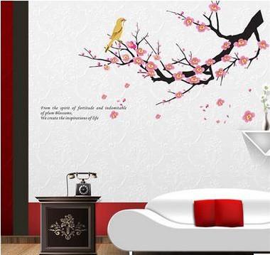 ウォールステッカー 桃の花とうぐいす 壁シール ...