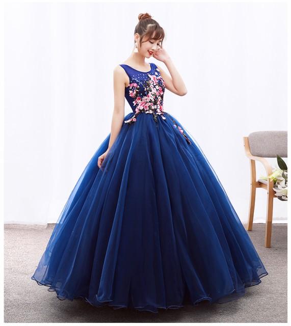 可愛い花柄ロングドレス/ドレス/豪華なウエディン...